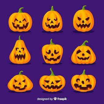 Cute halloween pumpkins on flat design