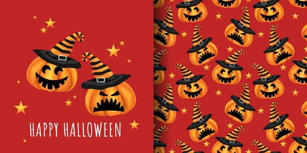 Cute halloween pumpkins seamless pattern.