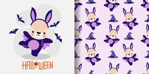 かわいいハロウィンうさぎバニーカートゥーンドゥードルシームレスパターンイラスト