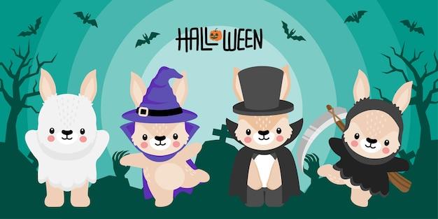 Cute halloween rabbit bunny cartoon doodle seamless pattern illustration