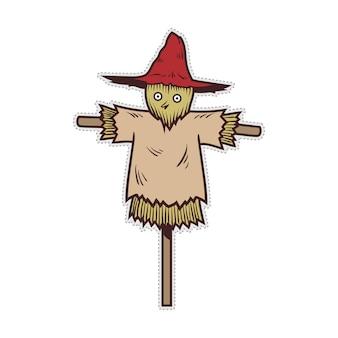 Cute halloween scarecrow doodle patch sticker.