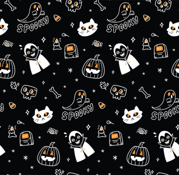 Cute halloween seamless background