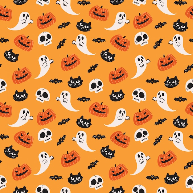 Cute halloween seamless background