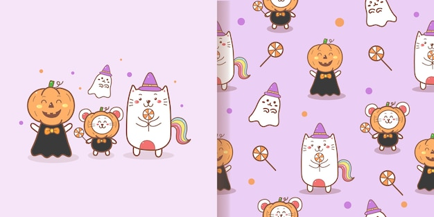 Cute halloween seamless pattern kawaii doodle with purple background