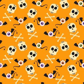 Cute halloween symbols seamless pattern.