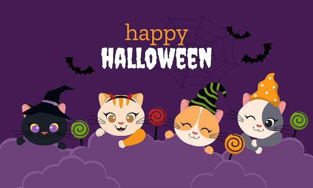 Симпатичный хэллоуин тема кошка баннер
