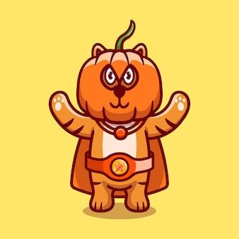 Cute halloween tiger pumpkin superhero illustration