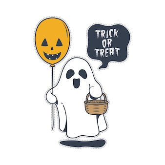 Cute halloween trick or treat ghost and balloon.