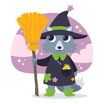 Cute halloween vector illustration with wolf witch.