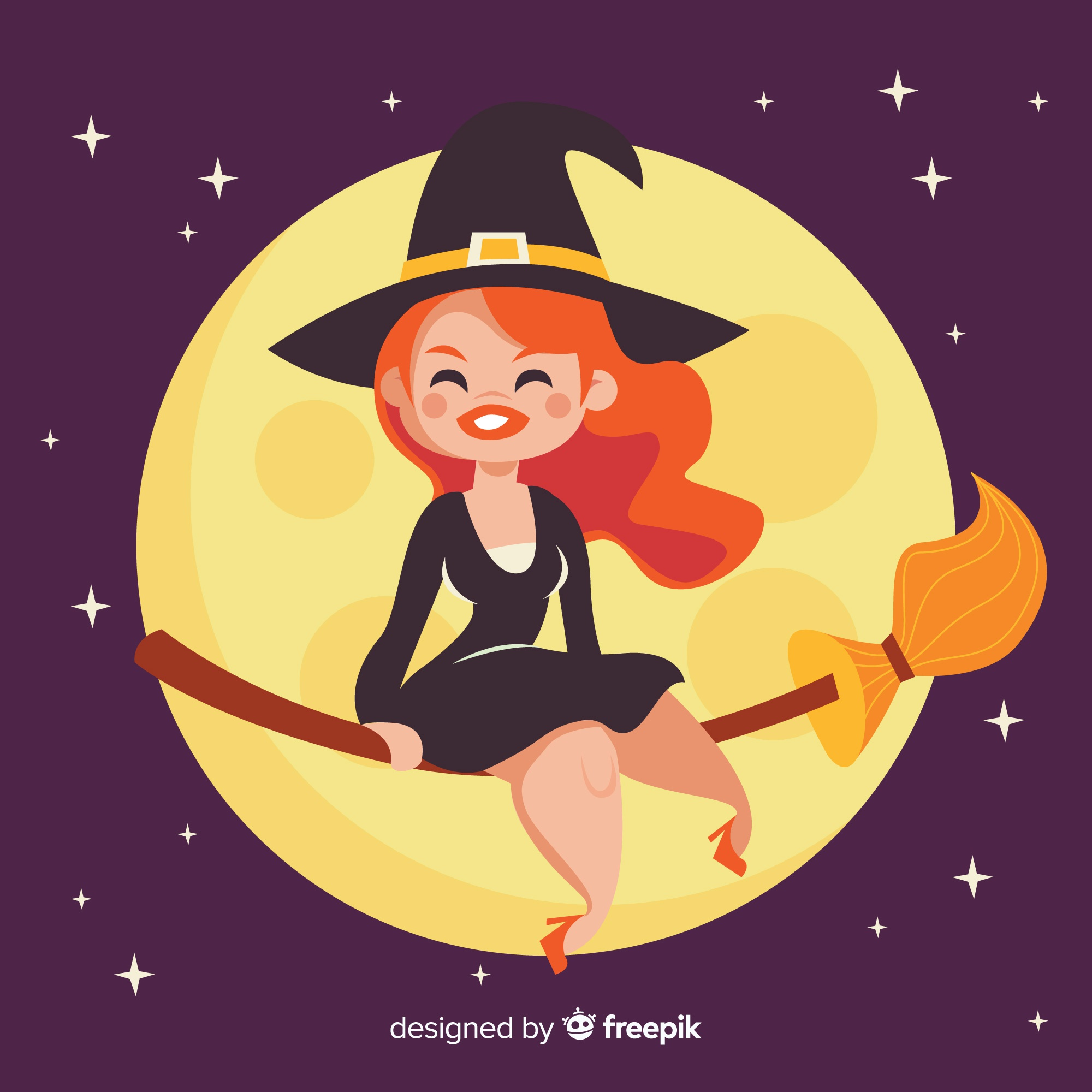 Cute halloween witch background with moon