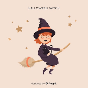 Cute halloween witch background
