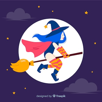 Cute halloween witch on a broom