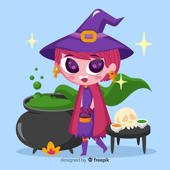 Cute halloween witch cartoon