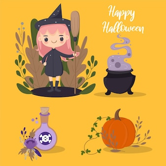 Cute halloween witch and elements vector
