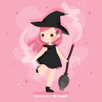 Cute halloween witch flat design