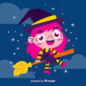 Cute halloween witch flying with broom