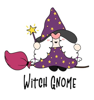 Cute halloween witch gnome on flying broomstick cartoon character doodle hand drawn outline