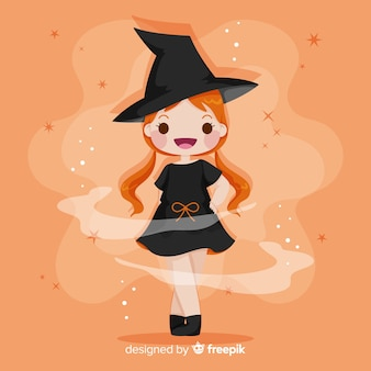 Cute halloween witch hand drawn