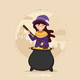 Cute halloween witch making a potion