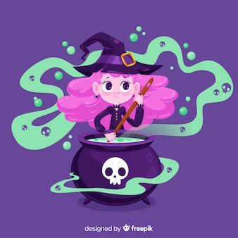 Cute halloween witch making a spell