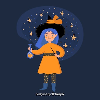 Cute halloween witch night time