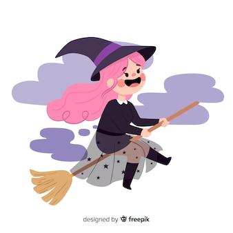 빗자루에 귀여운 할로윈 마녀