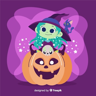 Cute halloween witch on pumpkin