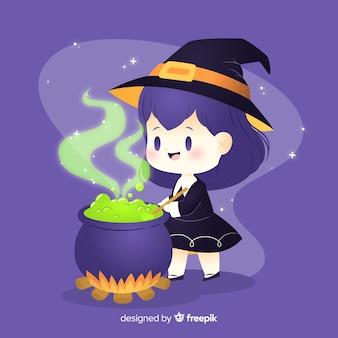 냄비에 감동하는 귀여운 할로윈 마녀