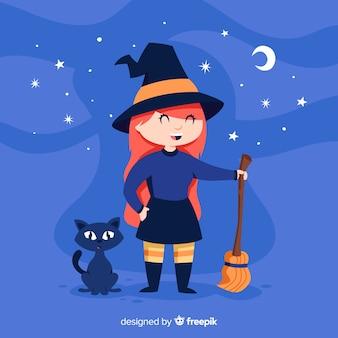 Милая хэллоуин ведьма с черным котом Бесплатные векторы
