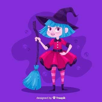ほうきでかわいいハロウィーン魔女