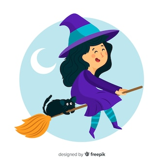 Cute halloween witch with black cat