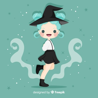 Cute halloween witch with blue hair