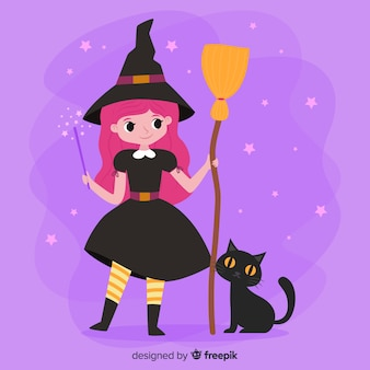 Cute halloween witch with broom and cat