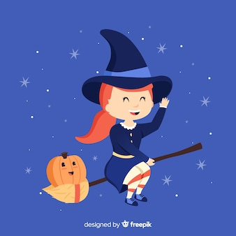Cute halloween witch with a broom