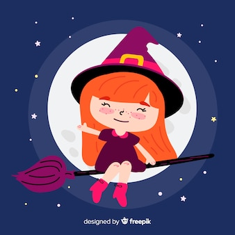 Cute halloween witch with full moon