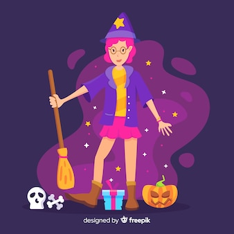 Cute halloween witch with gifts