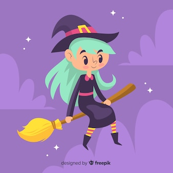Cute halloween witch with long hair resting on her broom