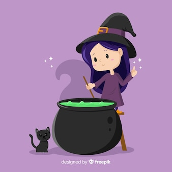 Cute halloween witch with melting pot and cat