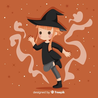 Cute halloween witch with orange hair
