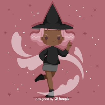 Cute halloween witch with pink hair