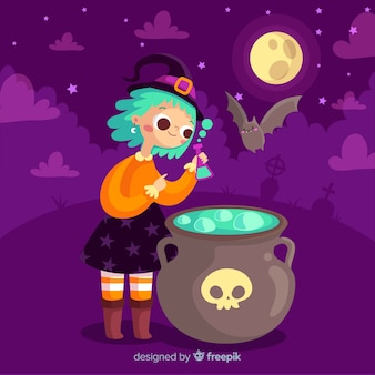 Cute halloween witch with potion pot