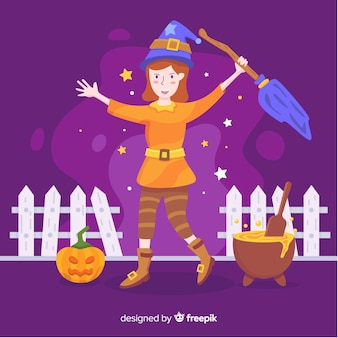Cute halloween witch with pumpkin and melting pot