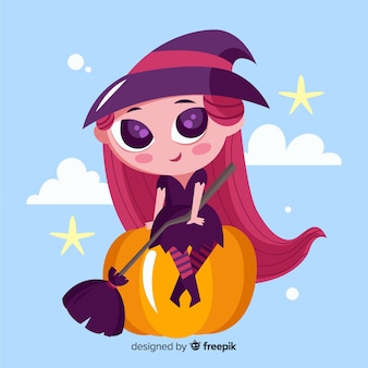 Cute halloween witch with pumpkin