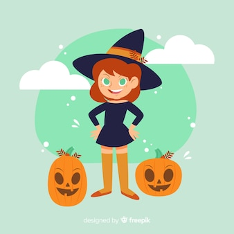 Cute halloween witch with pumpkins