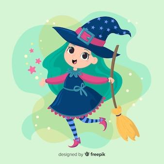 キラキラと青い髪のかわいいハロウィーン魔女 Premiumベクター