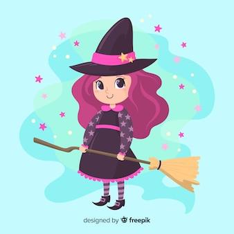 キラキラと紫の髪のかわいいハロウィーン魔女 Premiumベクター