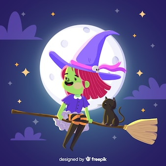 Cute halloween witch with violet clothes