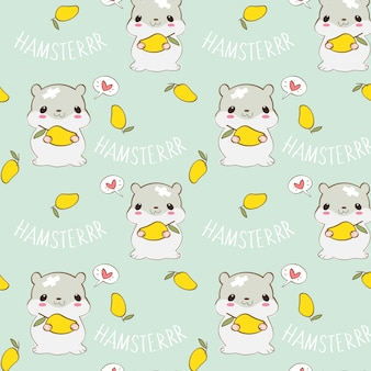 Cute hammer love mango seamless pattern