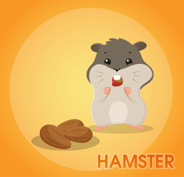 A cute hamster cartoon is eating almonds.