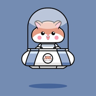 Cute hamster design with ufo